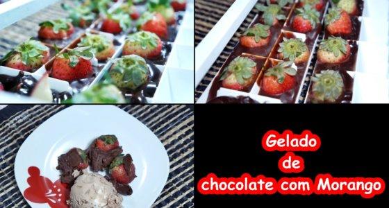 Sobremesa Especial: Gelado de chocolate com morango / Dia dos namorados