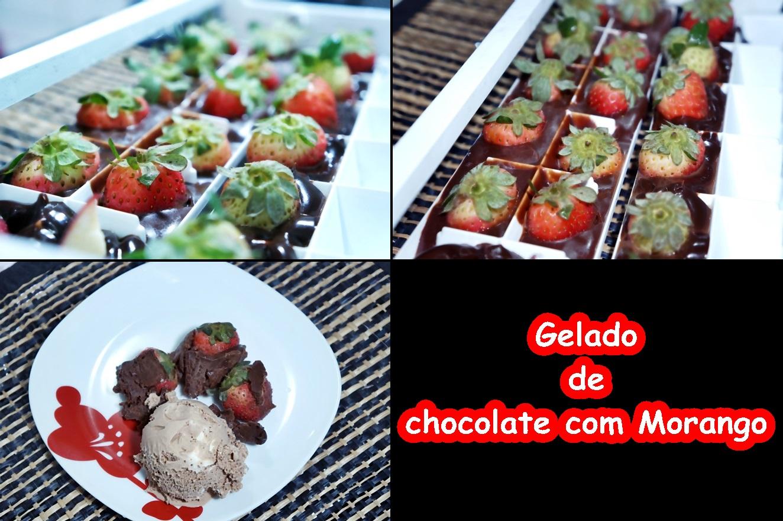 gelado chocolate com morango