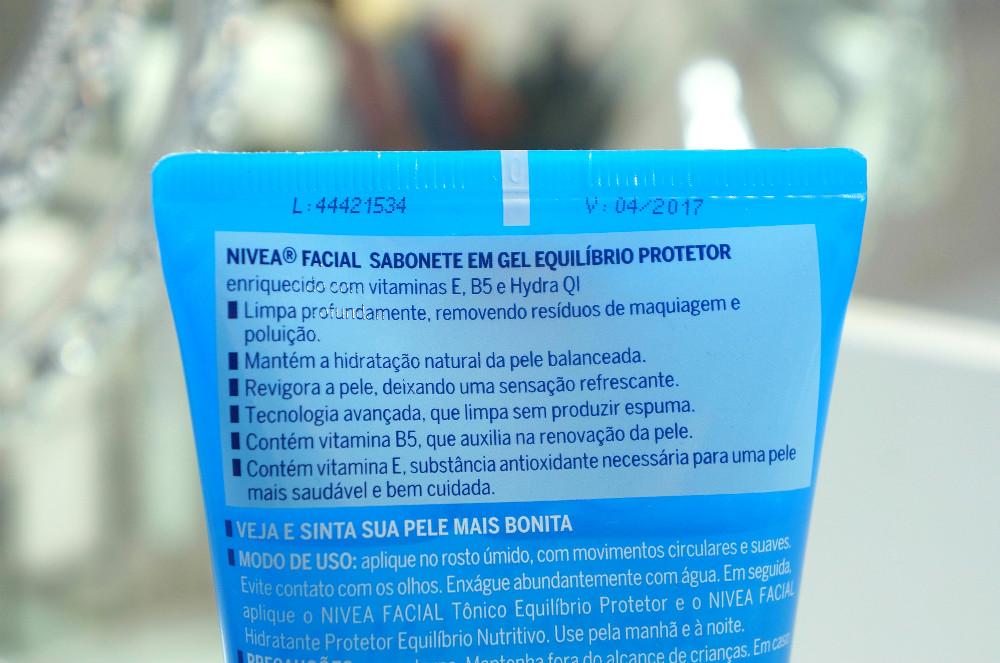 Sabonete- facial -em gel- equilíbrio- protetor- Nivea