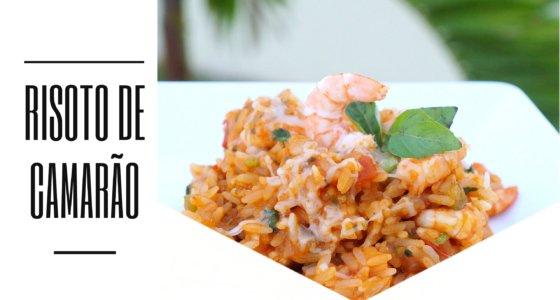 Risoto de camarão com arroz tradicional